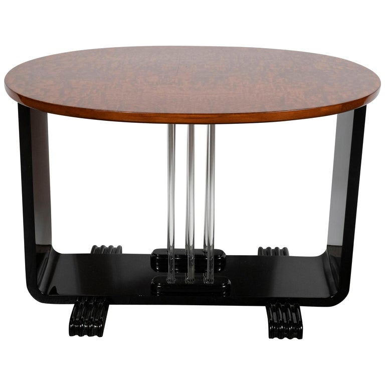 Machine Age Streamlined Art Deco Burled Elm, Black Lacquer and Glass Side Table For Sale