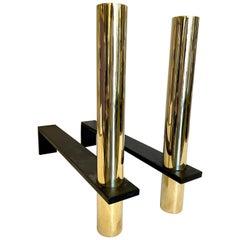 Machine Era Style Solid Brass and Blackened Iron Andirons