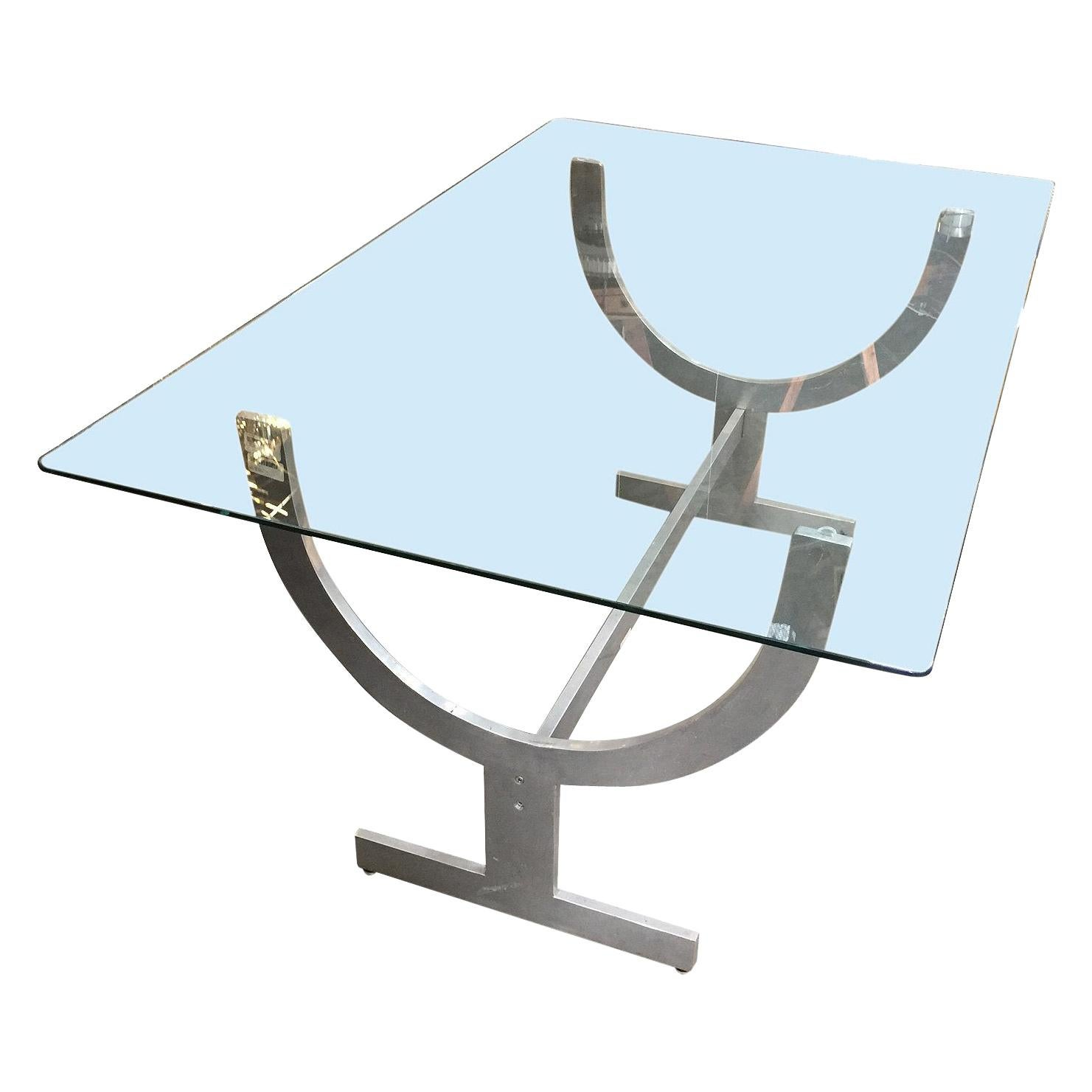 Machined Aluminum Dining Table with Glass Top