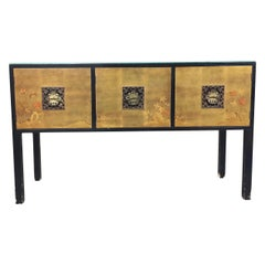 Asian inspired console cabinet with black lacquer body and hand-painted doors an
