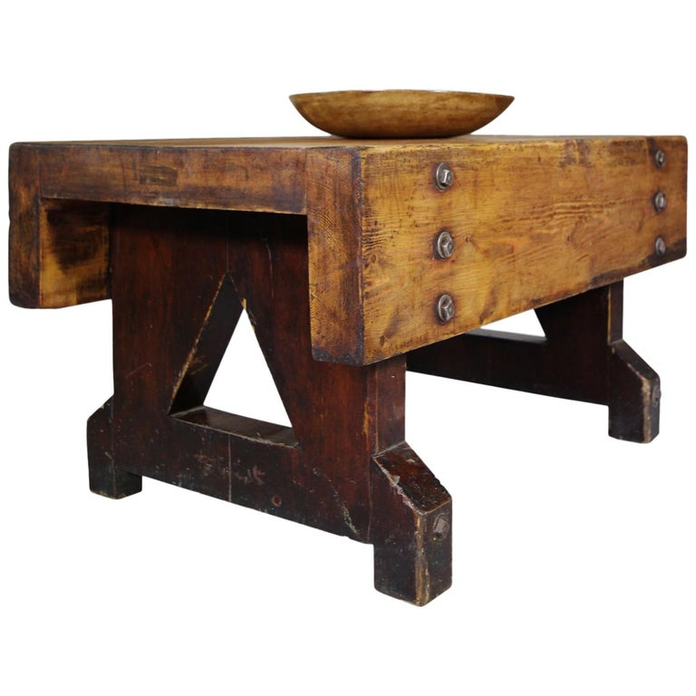 Machinists Pine Coffee Table For Sale