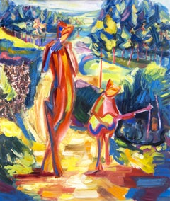 """"""" Fauns musicians """" expressive bright painting, Painting, Oil on Canvas"""