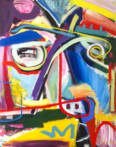 Abstract portrait  modern colorful painting new, Painting, Acrylic on Canvas