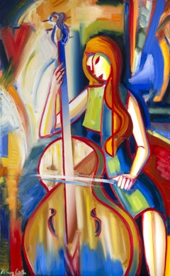 Cellist VIII ' bright color, Painting, Oil on Canvas