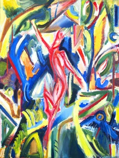 colorful painting Dancing forest- devil 2, Painting, Oil on Canvas