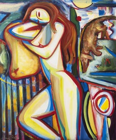 Composition of colors, girl lying in bed and dog, Painting, Oil on Canvas