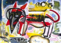 dachshund dog expressive abstract malerei, Painting, Oil on Canvas