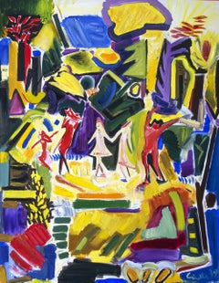 Dances in the meadow expressive painting woods new, Painting, Oil on Canvas