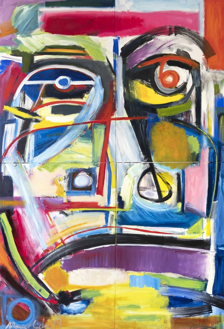 Maciej Ciesla Abstract Painting - The Archetype big abstract portrait modern art, Painting, Oil on Canvas