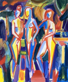 three women in nature 2019 modern expressive art, Painting, Oil on Canvas