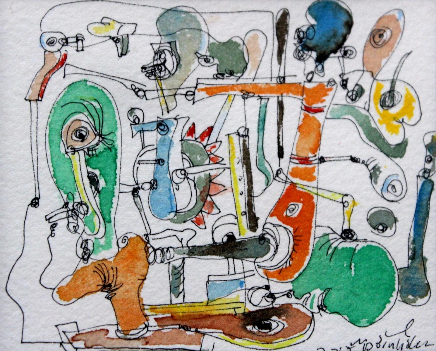 Composition (Watercolour) -  Contemporary surrealist artist, Abstraction