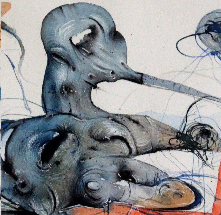 Composition (Watercolour) - Contemporary surrealist artist, XXIc, Vibrant colors - Painting by Maciej Świeszewski