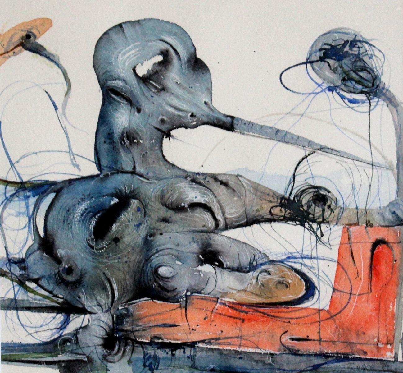 Composition (Watercolour) - Contemporary surrealist artist, XXIc, Vibrant colors
