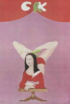 1970 Maciej Urbaniec 'Cyrk Mona Lisa' Vintage Pink,Red Poland Offset Lithograph