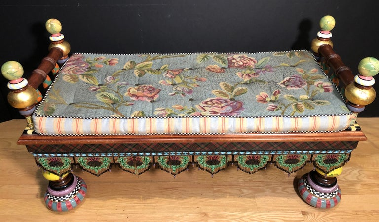 """MacKenzie-Childs """"Ridiculous Bench"""". Beautifully hand painted, enameled and gold leaf. Hanging beaded gallery."""