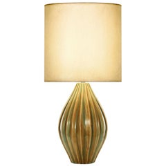 Mackenzie Table Lamp in Bronze and Green Ceramic by CuratedKravet