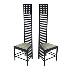 """Mackintosh Pair of Ashwood and Cotton """"292 Hill House 1"""" Chairs, Italy, 1960s"""