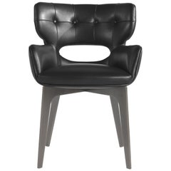 Maclaine Armchair in Black Leather and metal base by Roberto Cavalli