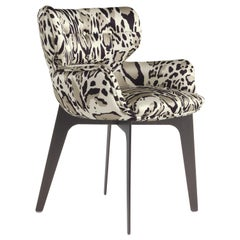 Maclaine Armchair in Fabric with Metal Base by Roberto Cavalli
