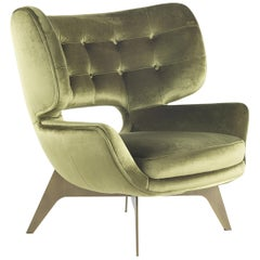 Maclaine Armchair in Velvet with Bronze Metal Base by Roberto Cavalli
