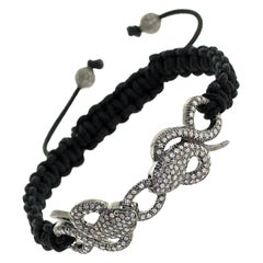 Macrame Twin Snake Diamond Bracelet