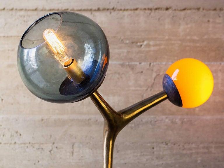 M 225 Cula Table Lamp Brushed Bronze Smoke And Orange Blown