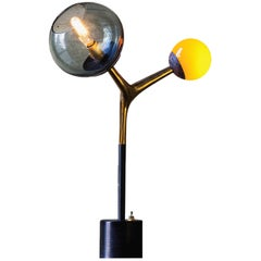 Mácula Table Lamp Brushed Bronze, Smoke and Orange Blown Glass by Isabel Moncada