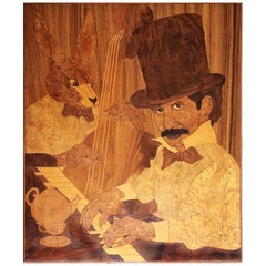 Mad Hatter & March Hare Marquetry Panel by Sark, signed 1978