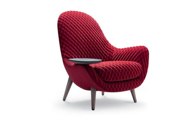 Modern Mad King Armchair in Fabric or Leather with Intergrated Oak Side Table For Sale
