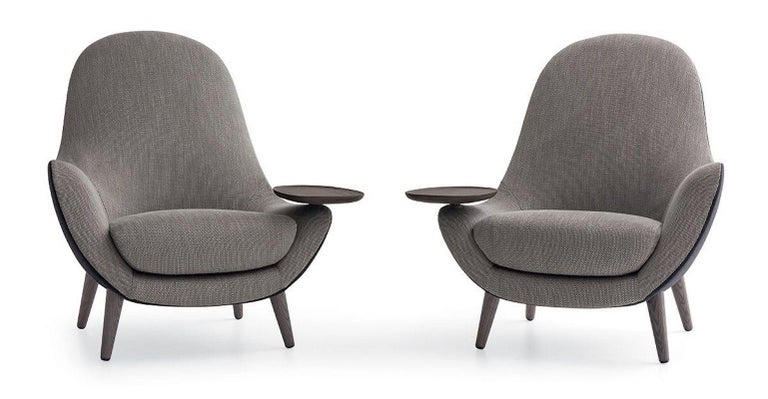 Italian Mad King Armchair in Fabric or Leather with Intergrated Oak Side Table For Sale