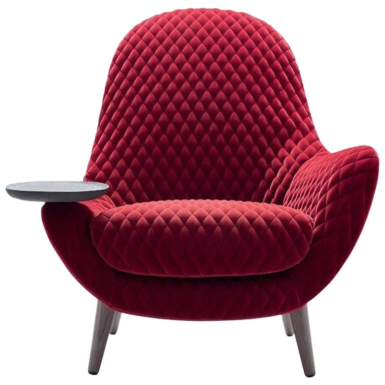 Mad King Armchair in Fabric or Leather with Intergrated Oak Side Table For Sale