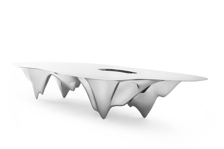 Chinese MAD Martian Long Dining Table Polished Stainless Steel by MAD Architects  For Sale