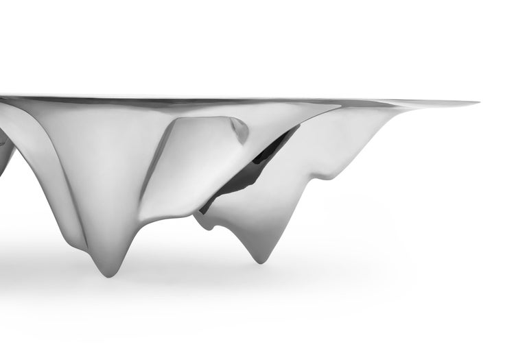 MAD Martian Long Dining Table Polished Stainless Steel by MAD Architects  In New Condition For Sale In Los Angeles, CA