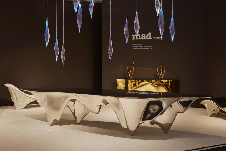 Contemporary MAD Martian Long Dining Table Polished Stainless Steel by MAD Architects  For Sale
