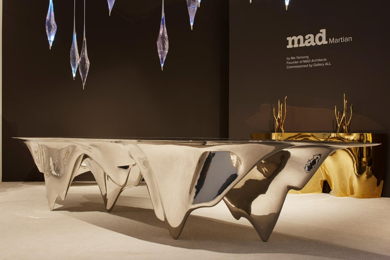 Aluminum MAD Martian Long Dining Table Polished Stainless Steel by MAD Architects  For Sale