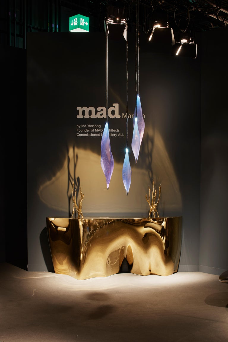 MAD Architects have reinvigorated this favourite of mid-20th century design, the floor-ceiling suspension light. The drooping ridged surface of the PU and stainless steel shade conveys an alien Chrysalis, protecting a creature in a state of