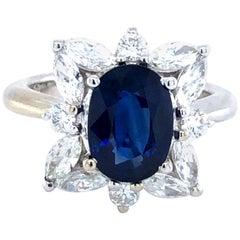 Madagascar 3.30 ct Natural Sapphire & 1.50 ct Diamonds 18kt Ring A.G.L. Certifie