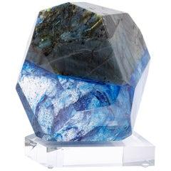 Madagascar Labradorite and Blue Shade Organic Shape Glass Fusion Sculpture
