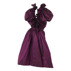 Madame Gres Couture Wine Taffeta Cocktail Dress, S/S 1988.