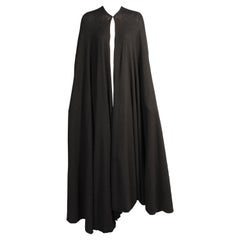 Madame Gres Haute Couture Black Angora and Wool Blend Evening Cape Book Piece