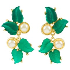 Madame Gres Paris Clip Earrings Green Poured Glass Leaves