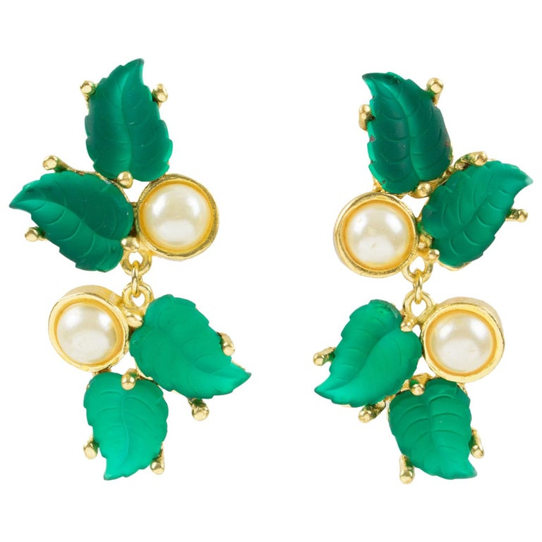 Madame Gres Paris Signed Clip On Earrings Gilt Metal Green