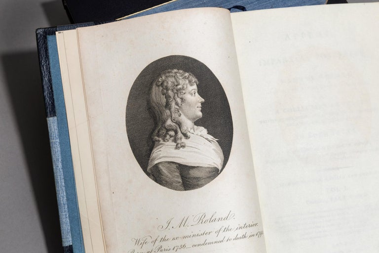 3 Volumes. Madame Roland. An appeal to impartial posterity. A Collection of Tracts Written by her during her Confinement In The Prisons of the Abbey and St. Pelagie In Paris. Second Edition. Bound in 3/4 Blue Morocco by Root and Son, linen boards,