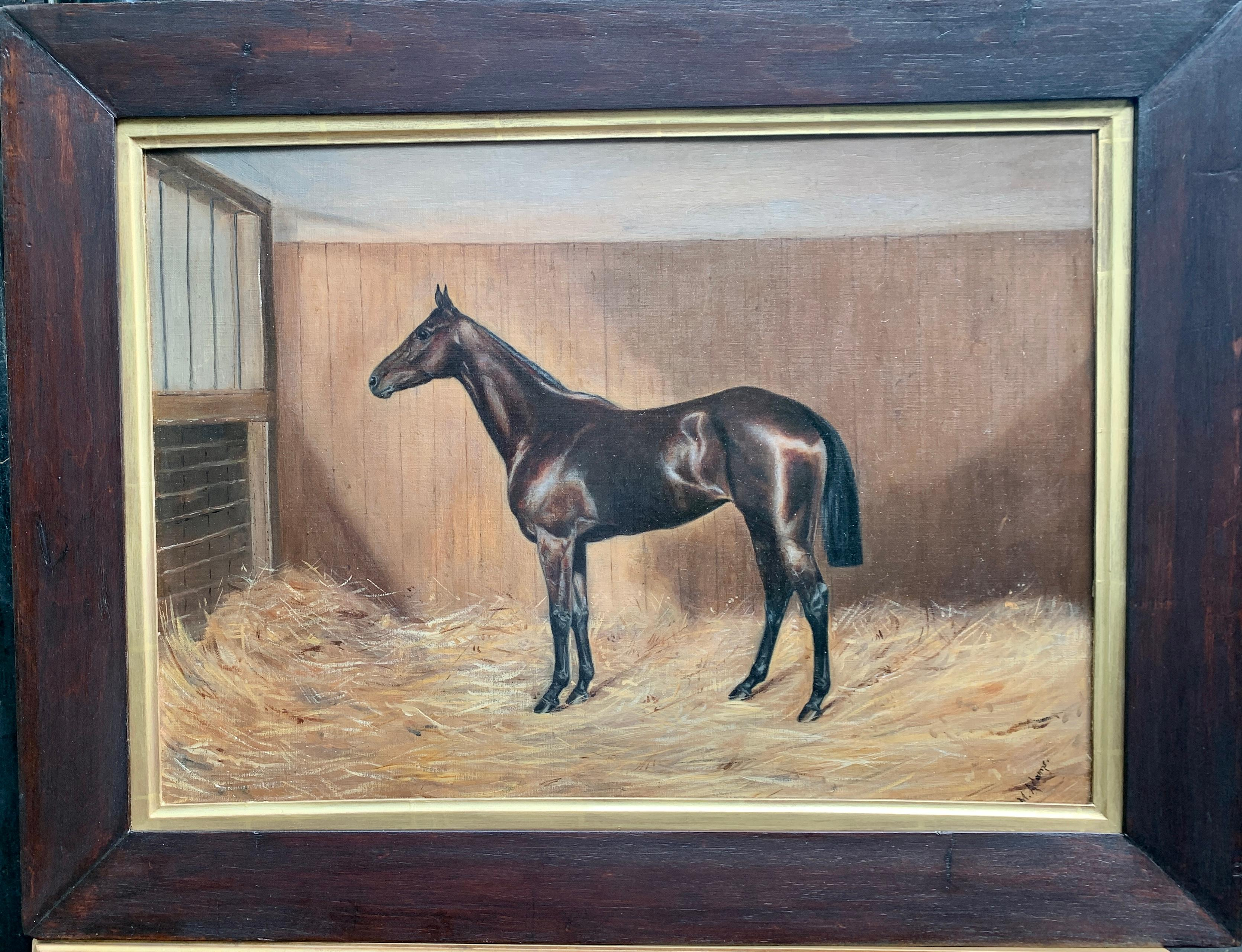 19th century English Antique Victorian horse in a stable barn