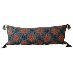 Madder Red Floral Block printed Cotton Quilted Pillow, French, 19th Century
