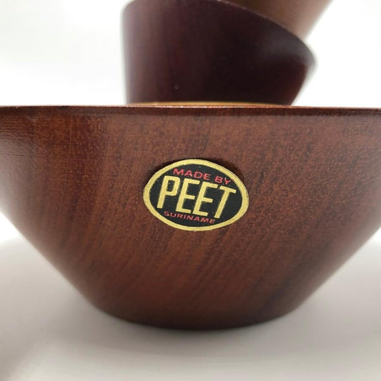 Made by Peet Suriname Wooden Bowl Set, 60's For Sale 4