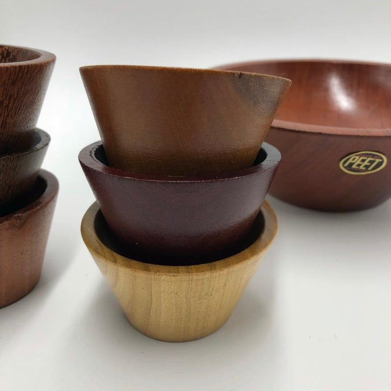 Hand-Carved Made by Peet Suriname Wooden Bowl Set, 60's For Sale
