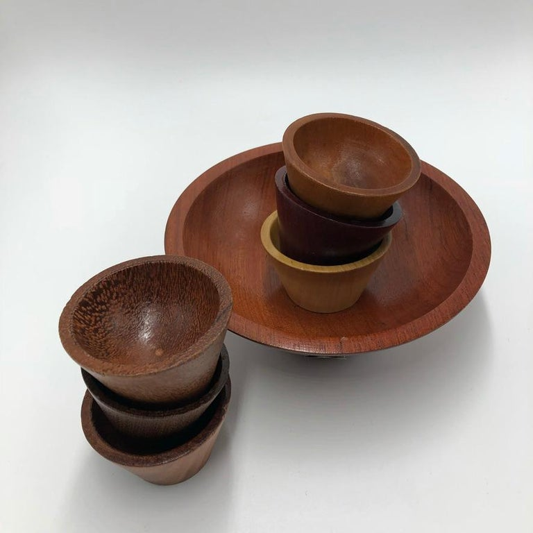 Mid-20th Century Made by Peet Suriname Wooden Bowl Set, 60's For Sale