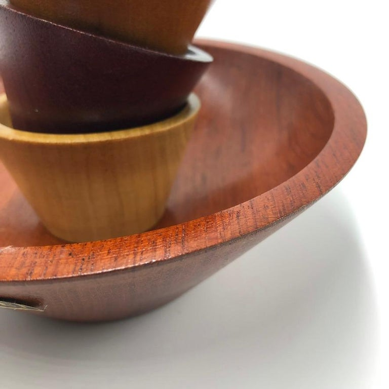 Made by Peet Suriname Wooden Bowl Set, 60's For Sale 1