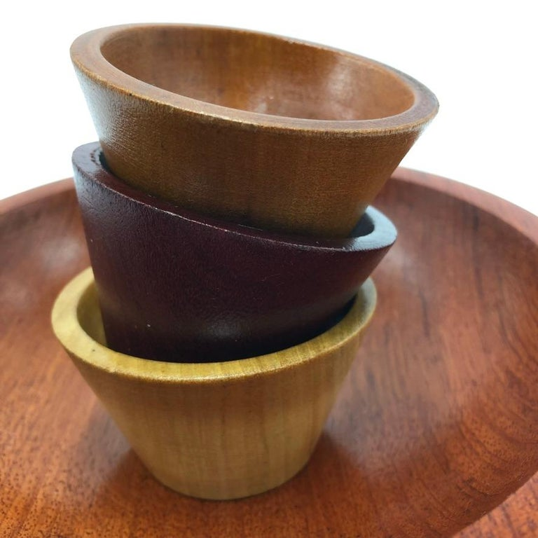 Made by Peet Suriname Wooden Bowl Set, 60's For Sale 2